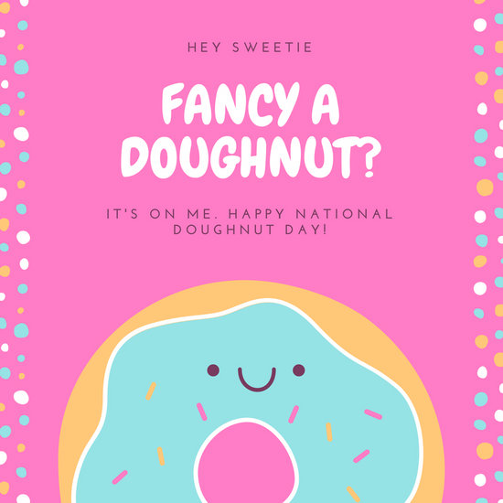 Pink Cute Donut National Doughnut Day Social Media Graphic - donut template