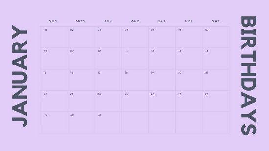 Customize 32+ Birthday Calendar templates online - Canva - birthday calendar template