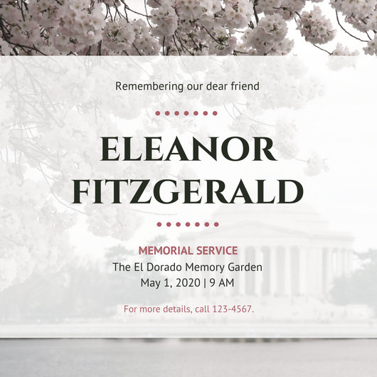Customize 97+ Memorial Invitation templates online - Canva - memorial service invitation template