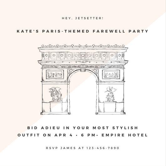 Pastel Pink Arc de Triomphe Illustration Paris Invitation