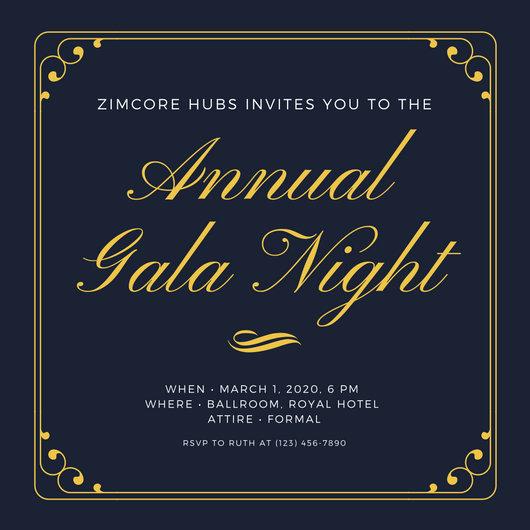 Dark Blue  Gold Simple Elegant Gala Invitation - Templates by Canva