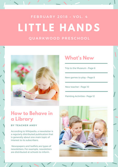 Pink Blue Sprinkles Photo Cute Preschool Newsletter - Templates by Canva