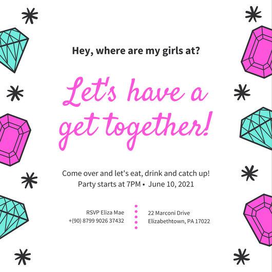 Pink Aqua Jewels Funky Get Together Invitation - Templates by Canva - get together invitation template