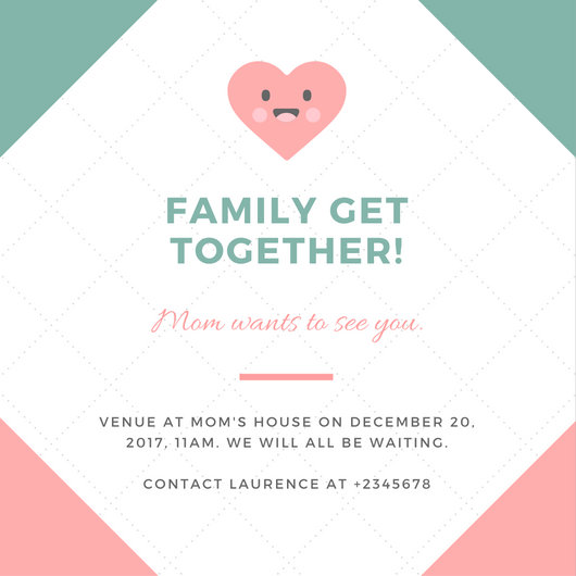 Pink and Green Cute Heart Get Together Invitation - Templates by Canva - get together invitation template