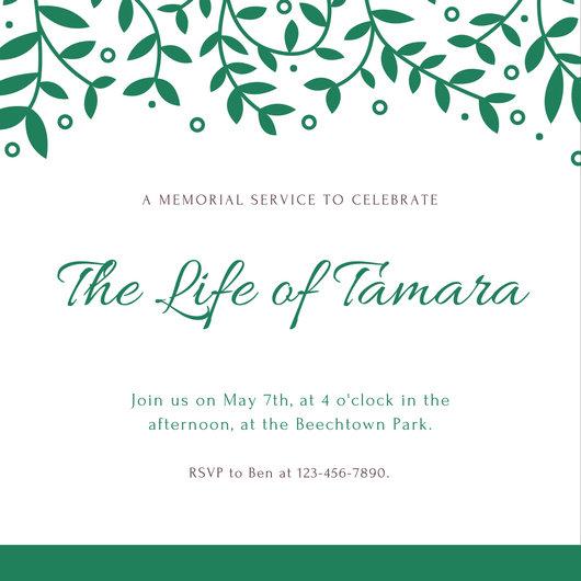 Customize 40+ Funeral Invitation templates online - Canva - memorial service invitation sample