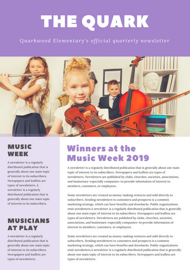 Purple Musicians Photo Elementary Newsletter - Templates by Canva