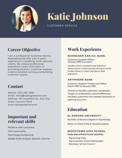Dark Blue Header Customer Service Resume - Templates by Canva - resume customer service