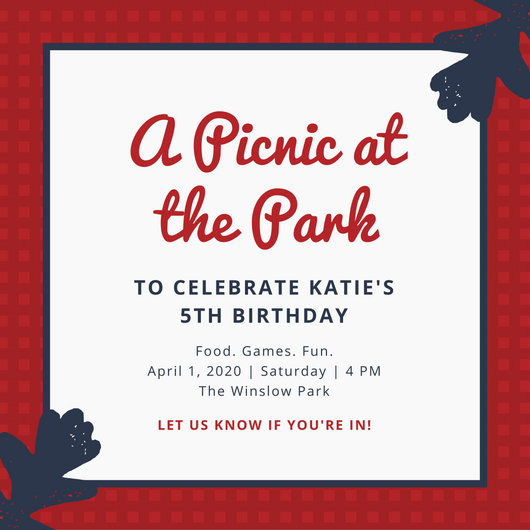 Simple Red and Blue Picnic Invitation - Templates by Canva