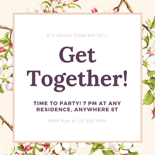 Cream Floral Illustrations Get Together Invitation - Templates by Canva - invitation for a get together