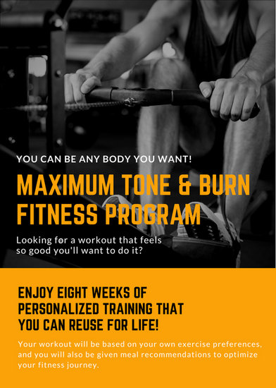 Orange  Black Workout Personal Trainer Flyer - Templates by Canva