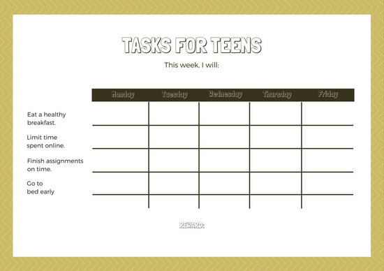 Yellow and White Arrow Patterned Teenager Reward Chart - Templates