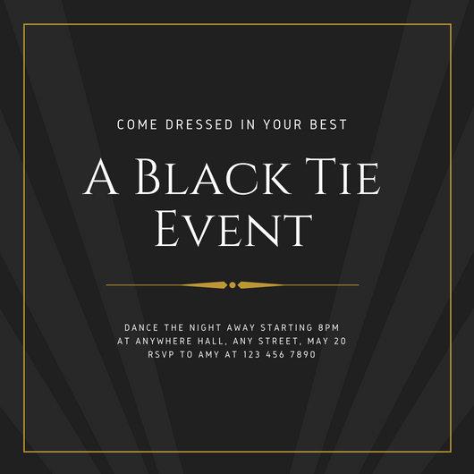 Charcoal  Gold Elegant Masculine Black Tie Event Invitation