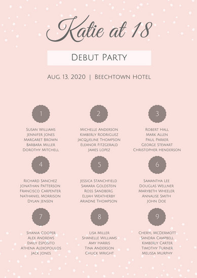 Pink Elegant Debut Seating Chart - Templates by Canva