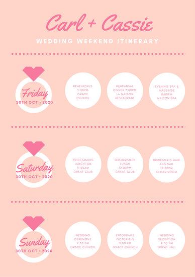 Customize 176+ Wedding Itinerary Planner templates online - Canva