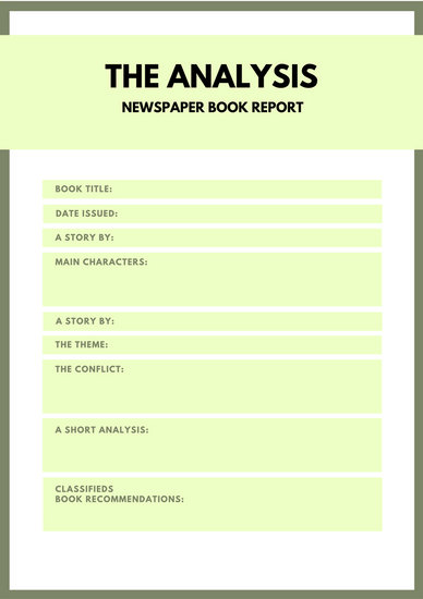 Green Simple Newspaper Book Report - Templates by Canva