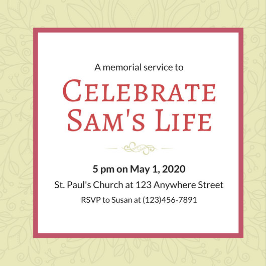 Customize 40+ Funeral Invitation templates online - Canva