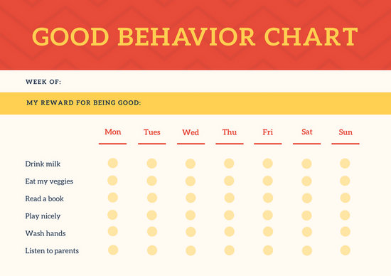 Red Header Behavior Toddlers Reward Chart - Templates by Canva