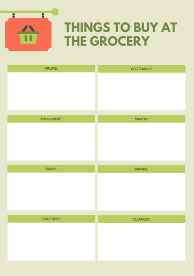 Green Simple Grocery Checklist - Templates by Canva