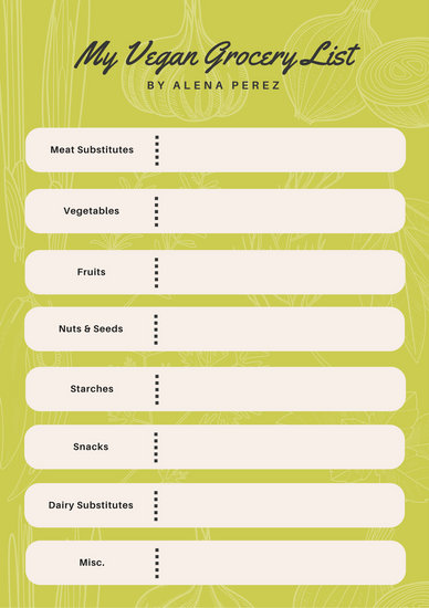 Lime Green Illustrated Vegetable Grocery Checklist List - Templates