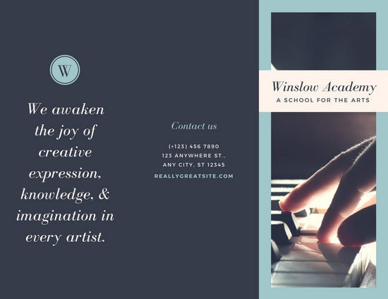 Grey Blue Music School Piano Arts Trifold Brochure - Templates by Canva - music brochure