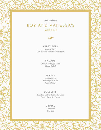 Wedding menu template for Roman menu template