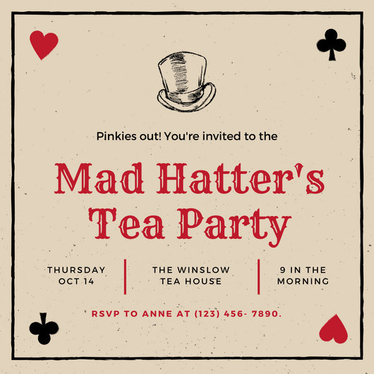 Black Red Playing Cards Mad Hatter Tea Party Invitation - Templates - cards party