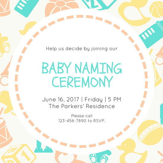 Green Yellow Orange Baby Naming Ceremony Invitation - Templates by - funeral ceremony invitation