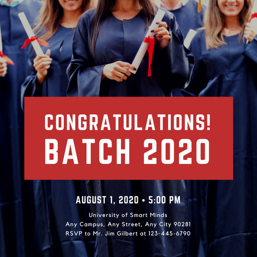 Red Shape with Photo Background Photo Graduation Invitation