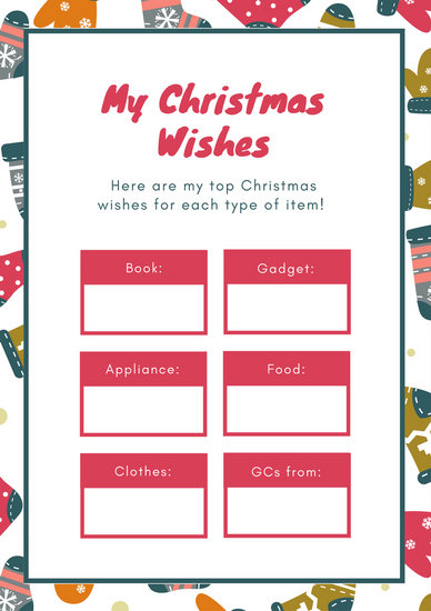 Pink and Teal Patterned Christmas Wish List - Templates by Canva