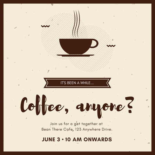 Brown Coffee Get Together Invitation - Templates by Canva - get together invitation template
