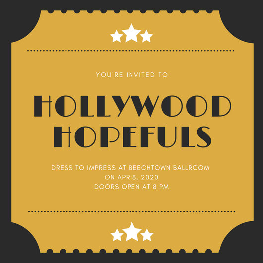 Black and Yellow Ticket Hollywood Invitation - Templates by Canva