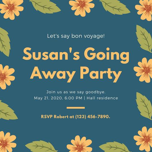 Blue, Orange and Green Floral Get Together Invitation - Templates - get together invitation template