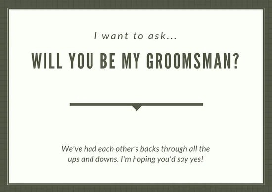 Olive Green Simple Groomsmen Wedding Card - Templates by Canva - wedding card template
