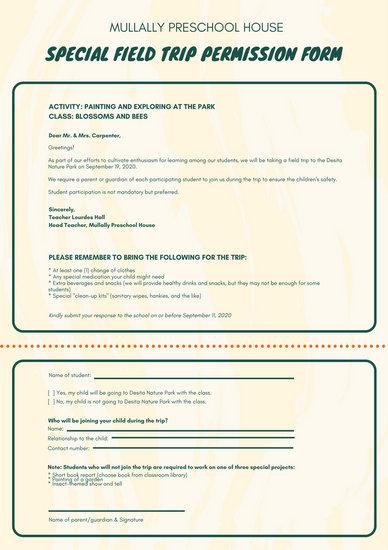 Green and Cream Brush Stroke Field Trip Permission Slip Letter