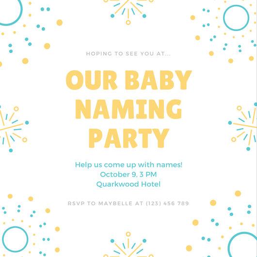 Blue Yellow Fireworks Illustration Baby Naming Ceremony Invitation - funeral ceremony invitation