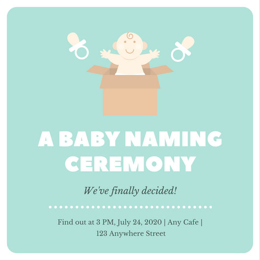 Mint White Bordered Baby Naming Ceremony Invitation - Templates by - funeral ceremony invitation