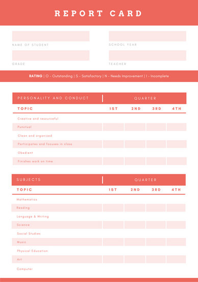 Orange  White Simple Homeschool Report Card - Templates by Canva