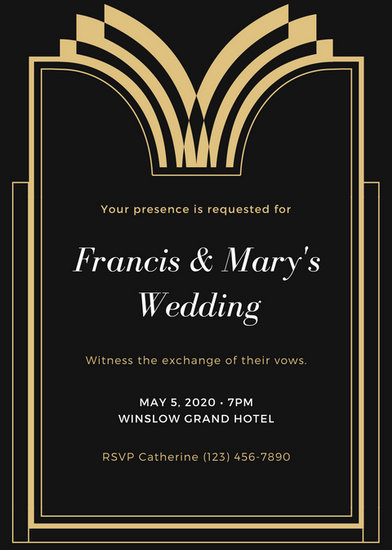 Gold Black and White Fancy Royal Wedding Invitation - Templates by Canva