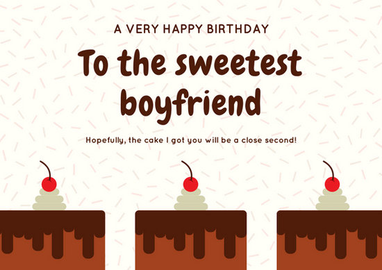 Brown and Cream Cakes and Sprinkles Boyfriend Birthday Card - birthday cake card template