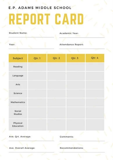 White and Yellow Simple Sprinkled Middle School Report Card - report card template