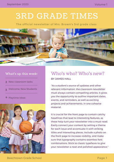 Purple and Yellow Photo Classroom Newsletter - Templates by Canva