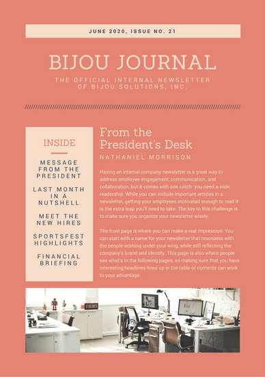 Coral and Cream Office Employee Newsletter - Templates by Canva - office newsletter