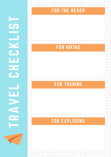 Blue and Orange Grid Paper Airplane Travel Checklist - Templates by - Travel Checklist