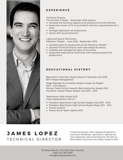 White Grey Black Theatre Resume - Templates by Canva