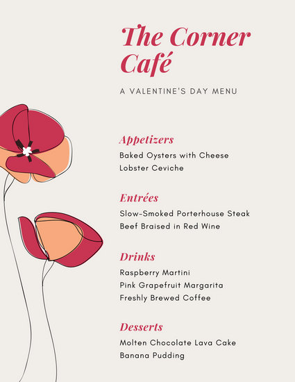 Red Poppy Valentine\u0027s Day Menu - Templates by Canva - valentines day menu template