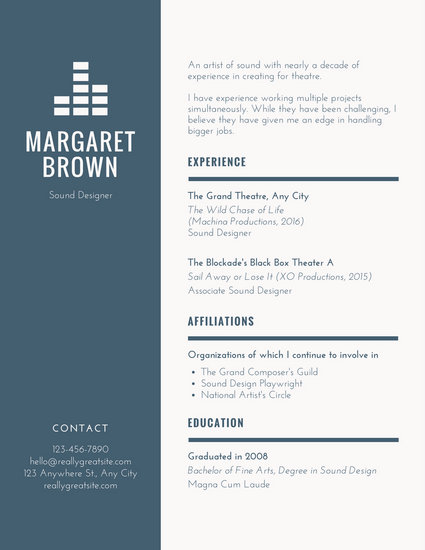 Blue Cream Simple Theatre Resume - Templates by Canva