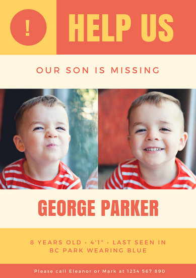 Yellow and Red Child Missing Person Poster - Templates by Canva - Missing Persons Posters