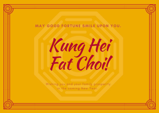 Gold and Red Chinese New Year Card - Templates by Canva
