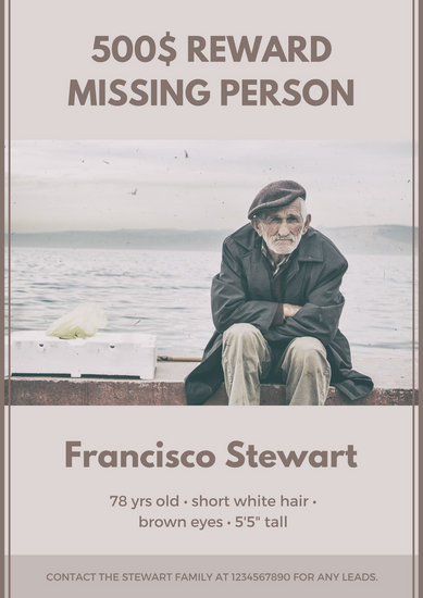 Ferra Old Man Bordered Missing Poster - Templates by Canva - missing reward poster template