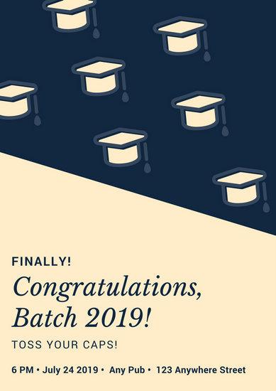 Blue Cream Graduation Congratulations Poster - Templates by Canva - congratulation graduation